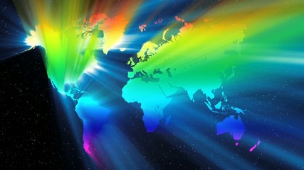 The world and colorful beam