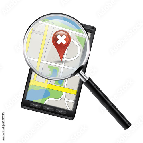 Smartphone with open maps under a magnifier