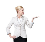 Attractive business woman offers something