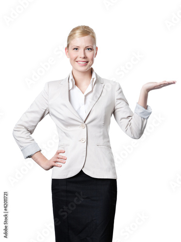 Business woman offers something
