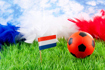 orange Soccer ball and Dutch flag on grass