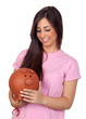 Atractive girl with a big piggy-bank