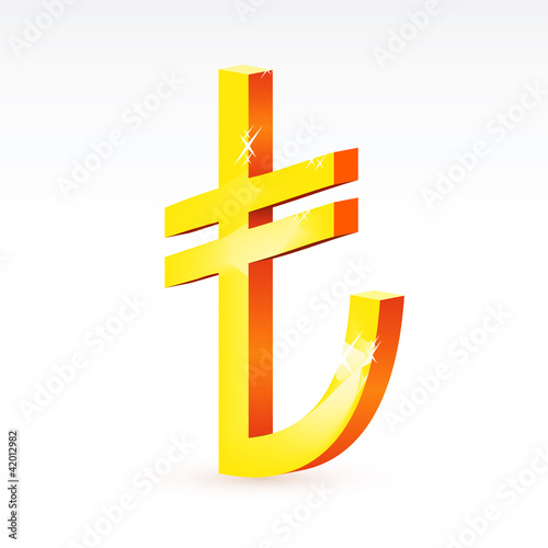 the currency sign of Turkish lira