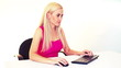 blonde woman working with computer