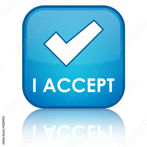 """I ACCEPT"" Blue Button"