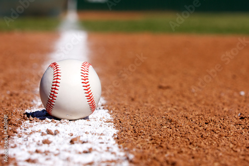 Baseball on the Infield Chalk Line - 42014191