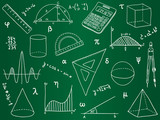 Fototapety Mathematics - school supplies, geometric shapes and expressions