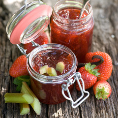 Strawberry jam with rhubarb