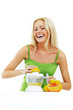 fitness woman make an orange juice