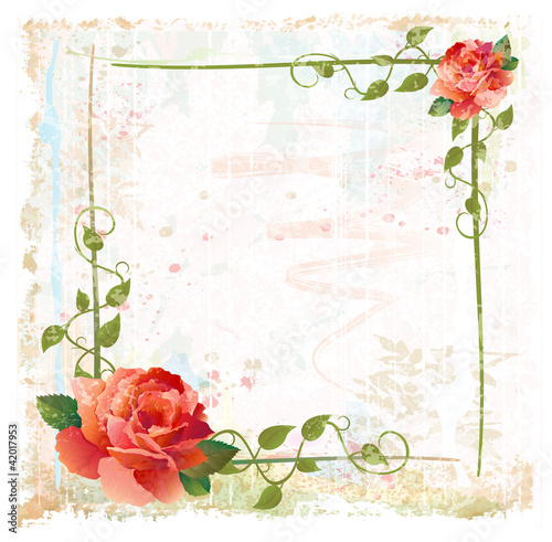 vintage background with red roses and ivy