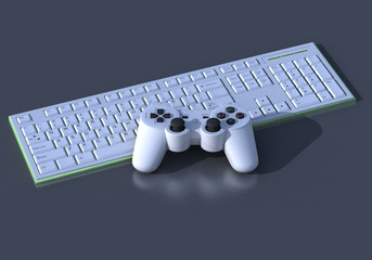 3D PS3 White Controller on Keyboard