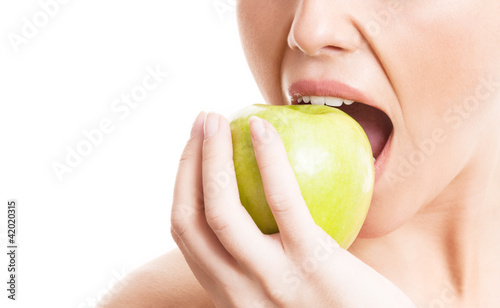 Poster woman eating an apple