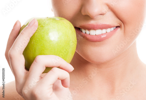 Poster woman with an apple