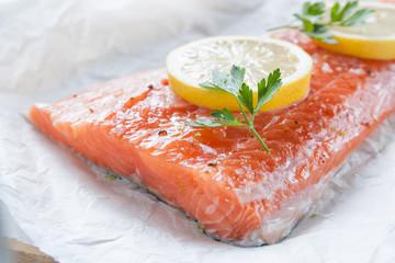 Raw loin of salmon with lemon