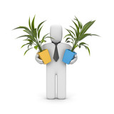Businessman hold pots with plants