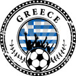 Stamp with football fans and name Greece, vector