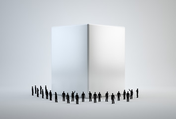 Tiny 3d people standing around a white cube