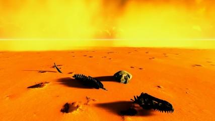 Dinosaur bones lying on desert