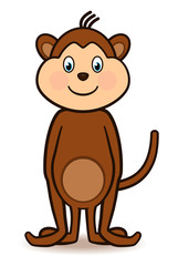 Cute Standing Monkey Cartoon Character