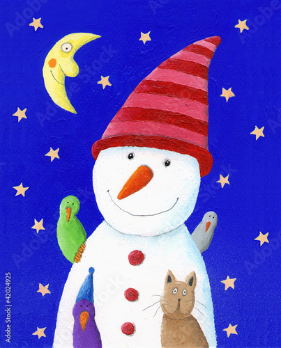 Cute Snowman, cat and birds in the night