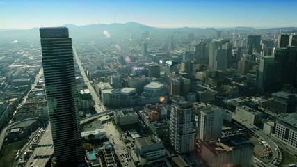 Aerial view of the skyscrapers and freeways, San Francisco,  USA