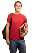 portrait of young student holding book and carrying backpack ove