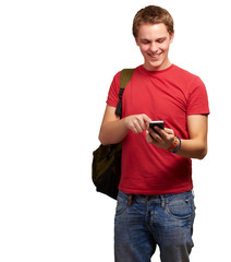 portrait of young man touching mobile screen over white backgrou