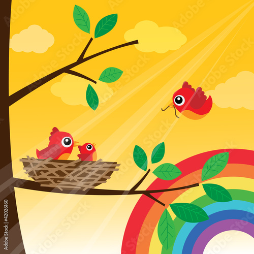Loving bird feeding with rainbow