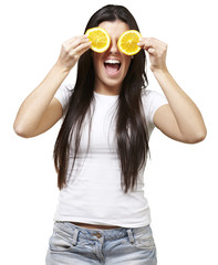 woman with oranges as eyes