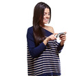 portrait of young woman touching a modern mobile over white