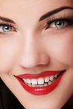 Portrait of beautiful  woman with red lipstick.