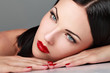Portrait of  woman with red lipstick. High quality image