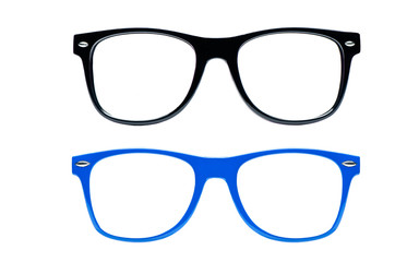 two nerd Glasses on white background with clipping path
