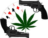 cards, hemp and two pistols