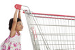 Cute Asian Girl Pushing Trolley