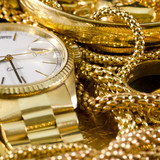 Fototapeta złoto - zegar - Biżuteria