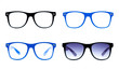 four nerd Glasses on white background with clipping path