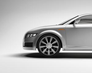 3d Concept side sport silver car