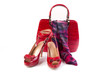 Red shoes, bag and belt