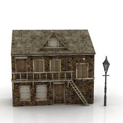 Altes Haus und Strassenlaterne
