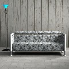 Couch mit Stoffbezug und Stehlampe