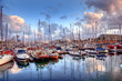 Boats in the harbor of Barcelona