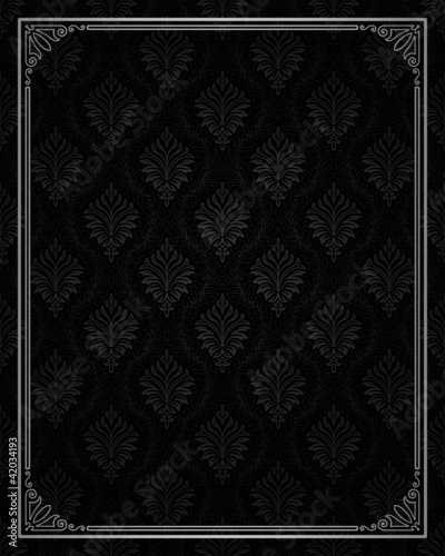 Seamless damask with ornamental frame