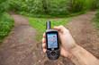 Leinwanddruck Bild - GPS Handgerät zeigt den richtigen Weg - Navigationsgerät, Navi
