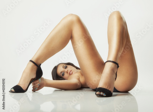 glamour girl lying on floor
