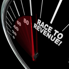 Race to Revenue Rising Speedometer Needle Profits