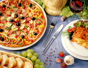Luxury pizza and lasagne table setting