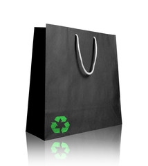 Black recycle paper shopping bag