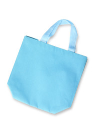 Blue color fabric bag on white background