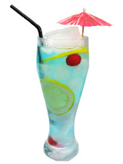 alcohol blue curacao cocktail drink with lemon